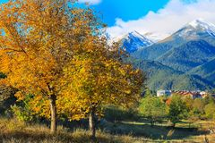 Bansko, montagne panorama, Bulgaria di Pirin Fotografie Stock Libere da Diritti