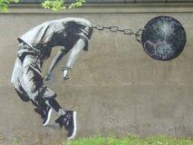 Bansky graffiti sztuka obrazy stock