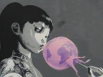 Bansky grafittikonst Fotografering för Bildbyråer