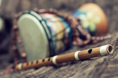 Bansuri and drum Stock Photography