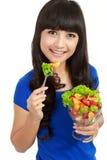 banta äta nätt sallad för fruktflicka Arkivfoton