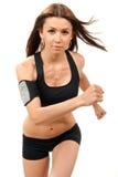 banta den rustande running kvinnan för konditionidrottshallen Fotografering för Bildbyråer