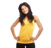 banta den sportiga kvinnan för den sunda livsstilståenden Banta den sunda livsstilen Isolerat på Arkivfoton
