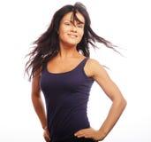 banta den sportiga kvinnan för den sunda livsstilståenden Banta den sunda livsstilen Isolerat på Royaltyfria Foton