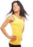 banta den sportiga kvinnan för den sunda livsstilståenden Banta den sunda livsstilen Isolerat på Arkivbild