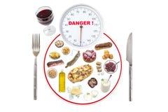 Banta det sunda begreppet för ätaviktskalan: plätera att föreställa viktskalafokusen på skalavisartavlan med olikt sjukligt Royaltyfri Fotografi