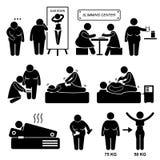 Banta fet överviktig kvinnabehandling för mitt Arkivbild
