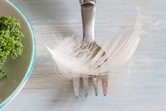 Banta ljus som ett unikt abstrakt begrepp för fjäder med gaffeln och göra grön sund mat Royaltyfria Foton