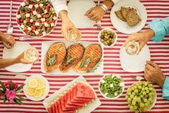 banta medelhavs- äta för begrepp som är sunt Top beskådar arkivbild