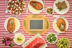 banta medelhavs- äta för begrepp som är sunt Top beskådar royaltyfria foton