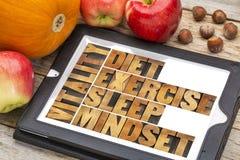 Banta, sova, övningen och mindset - vitalitet royaltyfria foton