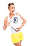 Bantar förlorande vikt för den asiatiska kvinnan med Arkivfoton