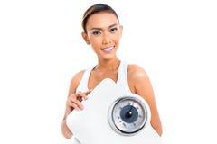 Bantar förlorande vikt för den asiatiska kvinnan med Royaltyfri Fotografi
