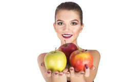 Bantar hållande äpplen för kvinna begrepp arkivfoto