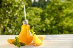 Bantar sunda non alkoholiserade coctailar för sommar, citruns ingav vattendrinkar, lemonader med limefruktcitronen eller apelsin, arkivbild