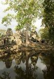 反射, Banteay Kdei寺庙,吴哥窟 免版税库存照片