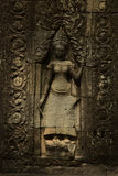 Banteay Kdei apsara. Carved in the wall Stock Photography