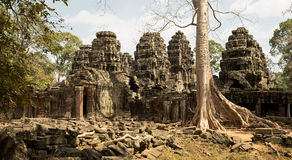 Banteay Kdei panorama with tree and towers. Roots on the ground Royalty Free Stock Image