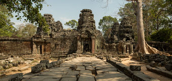 Banteay Kdei west entrance. Panorama Royalty Free Stock Photos