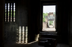 Banteay samre. Shadows of the window grills in angkor wat Stock Photography