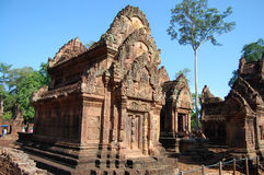 Banteay Srei在吴哥窟的少校寺庙 库存图片