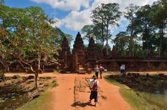 Banteay Srei寺庙暹粒复合体柬埔寨 库存照片