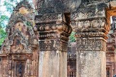 Banteay Srei寺庙红砂岩寺庙在吴哥,柬埔寨 库存图片