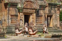 Banteay Srei寺庙红砂岩寺庙在吴哥,柬埔寨 免版税库存图片