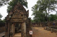 BANTEAY SREI寺庙,广泛被称赞作为`珍贵的宝石`或者高棉艺术`珠宝  ` 库存图片