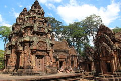 banteay srei寺庙 柬埔寨 暹粒省 暹粒市 免版税图库摄影