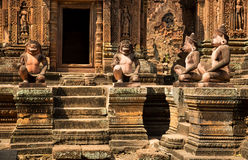 Banteay Srei雕塑 库存图片