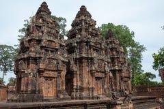 Banteay Srei,桃红色红土带在暹粒, Combodia 库存图片