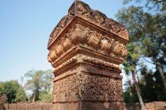 Banteay Srei,吴哥寺庙,柬埔寨石柱子  库存图片