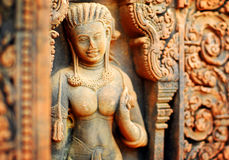 Banteay Srei Carving Stock Photo
