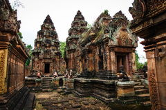 Banteay Srei castle. The most picturesque castle of Angkor Thom in Cambodia. Banteay Srei castle Royalty Free Stock Photography