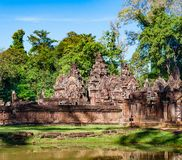 Banteay Srei in Forest Stock Photos