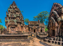 Banteay Srei hindu pink temple cambodia Royalty Free Stock Photo