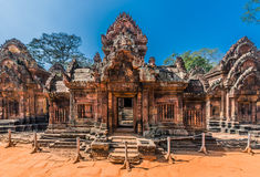 Banteay Srei hindu pink temple cambodia Stock Images