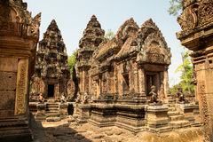 Banteay Srei overview of all details. Of temple Royalty Free Stock Photography