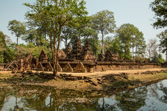 Banteay Srei overview with water. Reflection Stock Photos