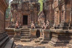 Banteay Srei ruins at the Angkor Wat historic ruins Stock Image