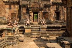 Banteay Srei sculptures. Banteay Srei famous sculptures of sandstone Royalty Free Stock Image