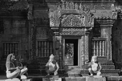 Banteay Srei Temple (black and white) Stock Photo