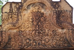 Banteay Srei temple. Carving from Banteay Srei temple Cambodia Stock Photo