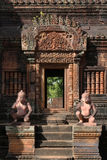 A Banteay Srei temple door Stock Photo