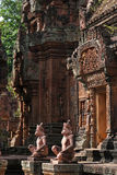 Banteay Srei temple doors and statues Royalty Free Stock Photo