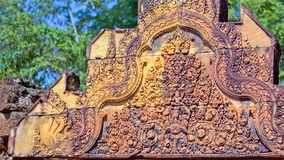 Banteay Srei temple Khmer architecture in siem reap .Banteay Srei is one of the most popular ancient temples in Siem Reap. Banteay Srei temple Khmer Royalty Free Stock Images