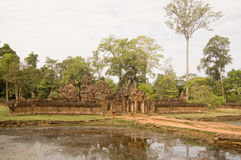 Banteay Srei temple and moat Royalty Free Stock Photography