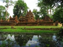 Banteay Srei temple near Angkor Wat, Cambodia. stock images