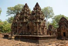 Banteay Srei torn Royaltyfri Fotografi